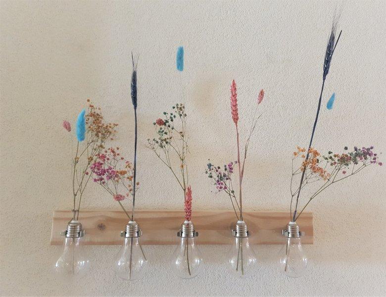 Droogbloemen houder hout flowergram DIY gedroogde bloemen vaas blauw roze