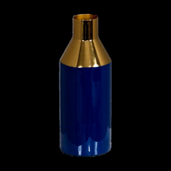 blauwe vaas met gouden hals