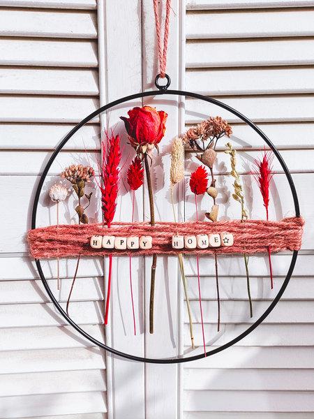 Droogbloemen in decoratie cirkel met tekst of naam